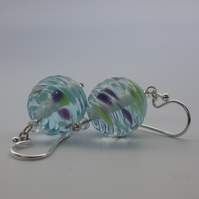 Clear fritty ribbed UK lampwork glass bead earrings
