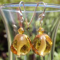 Sunshine yellow UK lampwork glass bead earrings