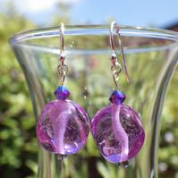 Lilac purple UK lampwork glass bead earrings
