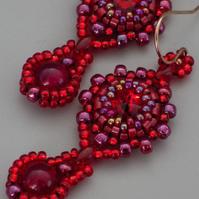 Beadwoven scarlet red Swarovski rivoli earrings with dyed pink agate drops