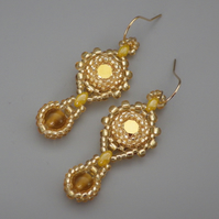 Beadwoven golden Swarovski chaton earrings with yellow carnelian drops
