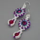 Beadwoven crystal Swarovski earrings with dyed pink agate drops
