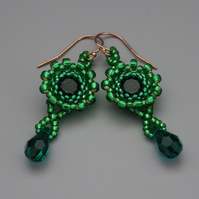 Beadwoven emerald green Swarovski chaton earrings with emerald green drops