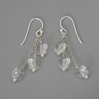 Three tier crystal Swarovski butterfly bead earrings with Sterling Silver
