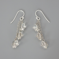 Three tier crystal Swarovski star bead earrings with Sterling Silver