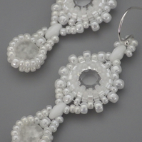 Beadwoven crystal Swarovski earrings with crackle rock crystal drops