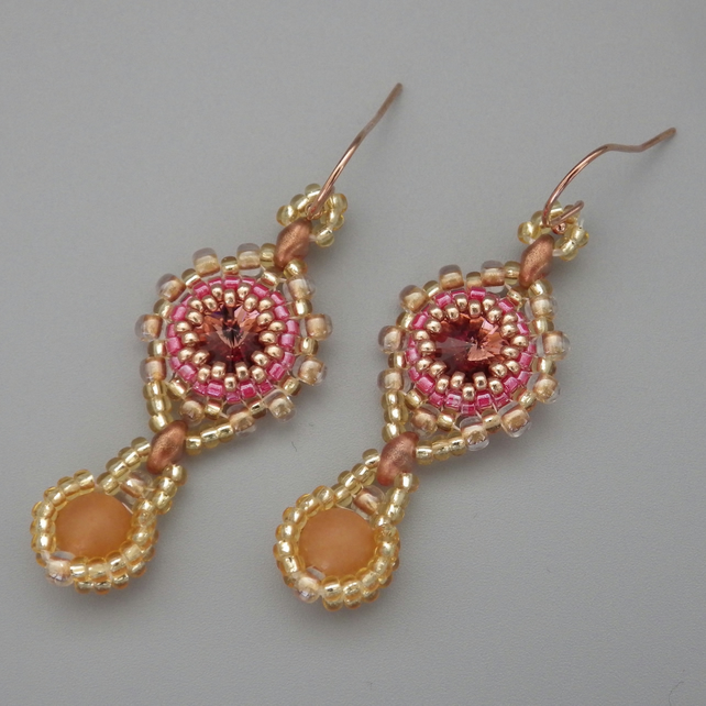 Beadwoven blush rose Swarovski rivoli earrings with red aventurine drops