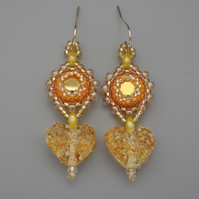 Beadwoven golden Swarovski chaton earrings with lampwork hearts