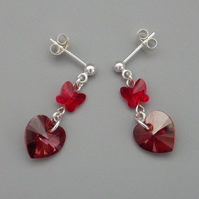 Red magma Swarovski heart earrings with butterfly beads