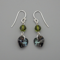 Glittering silver Swarovski heart earrings with olivine faceted round beads
