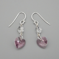 Pretty rose pink Swarovski heart and crystal clear Swarovski flower earrings