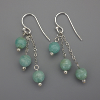 Three tier faceted amazonite bead earrings with Sterling Silver