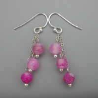 Three tier round frosted dyed pink agate bead earrings with Sterling Silver
