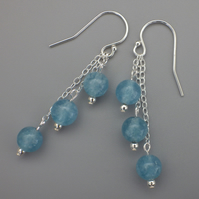 Three tier blue sponge quartz bead earrings with Sterling Silver