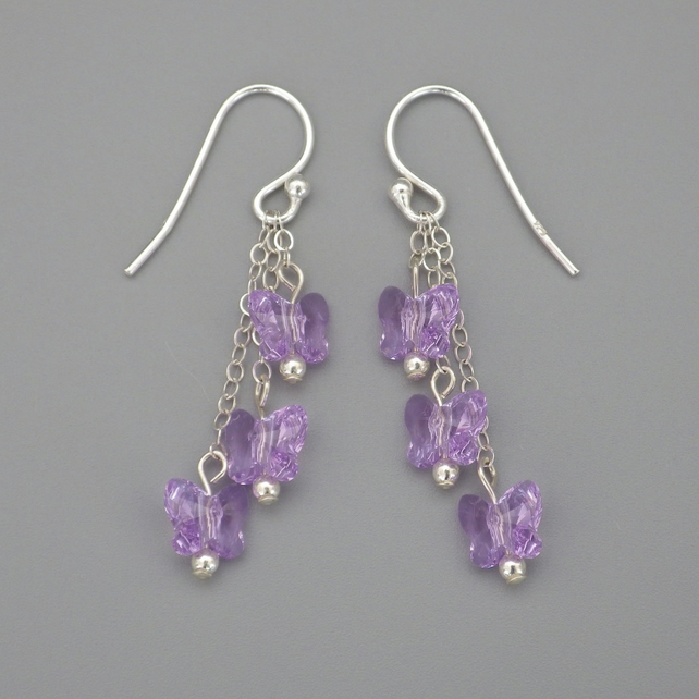 Three tier purple Swarovski butterfly bead earrings with Sterling Silver