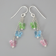 Three tier green, blue and pink Swarovski butterfly bead earrings