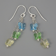 Three tier blue, green, and yellow Swarovski butterfly bead earrings