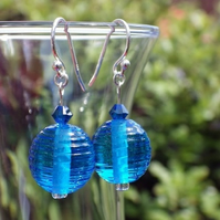 Bright blue ribbed UK lampwork glass bead earrings