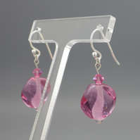 Pretty pink UK lampwork glass bead earrings