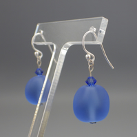 Frosted sapphire blue coloured UK lampwork glass bead earrings