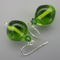 Apple green UK lampwork glass bead earrings