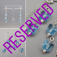 RESERVED LISTING FOR J T ONLY- Three tier blue Swarovski butterfly earrings