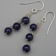 Three tier lapis lazuli bead earrings with Sterling Silver