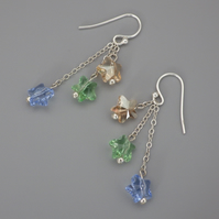 Three tier golden, green and blue Swarovski star bead earrings