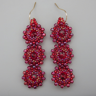 Scarlet red coloured beadwoven Swarovski crystal earrings
