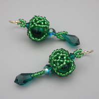 Emerald green beadwoven lampwork glass and Swarovski crystal earrings