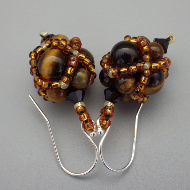 Netted beadwoven tiger's eye and Swarovski crystal earrings