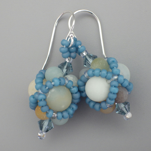 Netted beadwoven amazonite and Swarovski crystal earrings