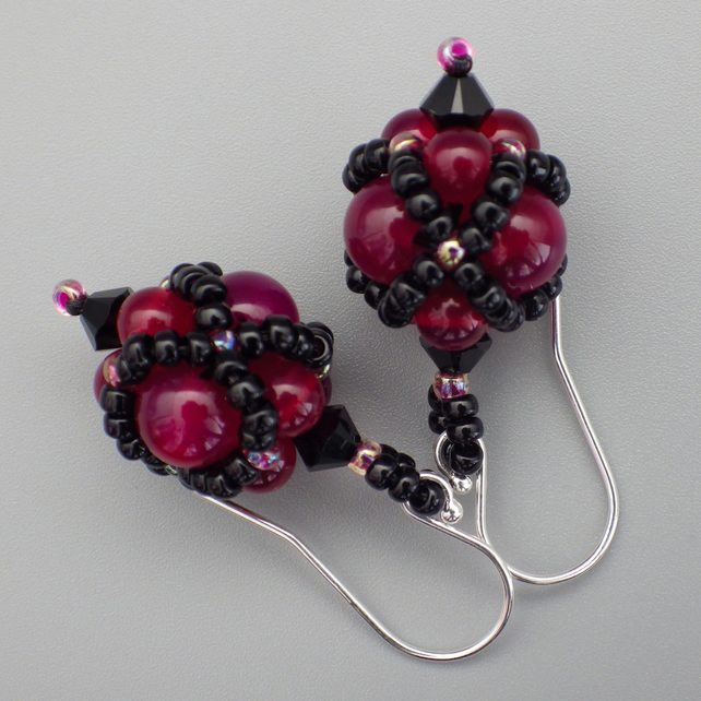 Netted beadwoven dyed pink agate and Swarovski crystal earrings