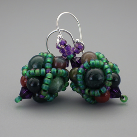 Netted beadwoven bloodstone and Swarovski crystal earrings