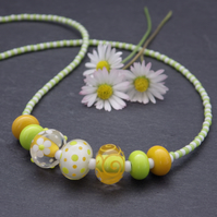 Zesty green, white and yellow lampwork glass bead necklace