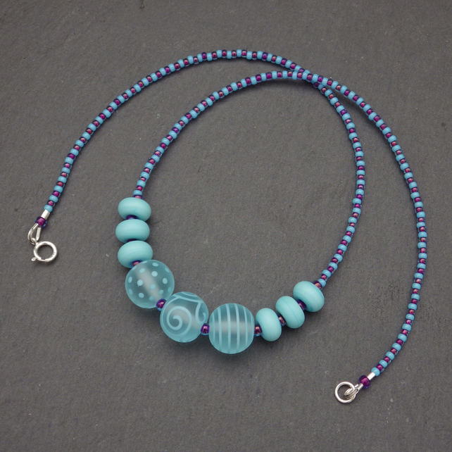 Baby blue lampwork glass bead necklace