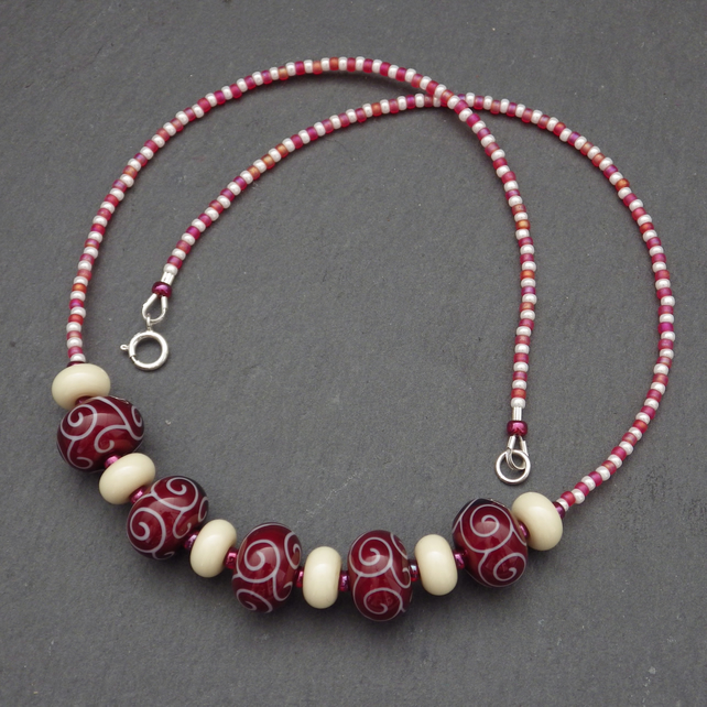 Deep red and ivory handmade lampwork glass bead necklace