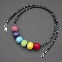 Rainbow handmade lampwork glass nugget bead necklace