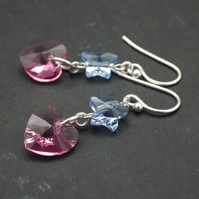 Pretty rose pink Swarovski heart earrings with blue Swarovski stars
