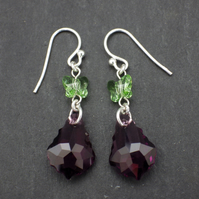 Swarovski amethyst purple baroque bead earrings with peridot butterfly beads