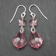 Rose pink Swarovski baroque drop earrings with Swarovski rose pink butterflies