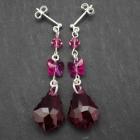 Ruby pink Swarovski baroque drop earrings with fuchsia pink butterflies