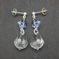 Crystal baroque Swarovski drop earrings with blue Swarovski stars