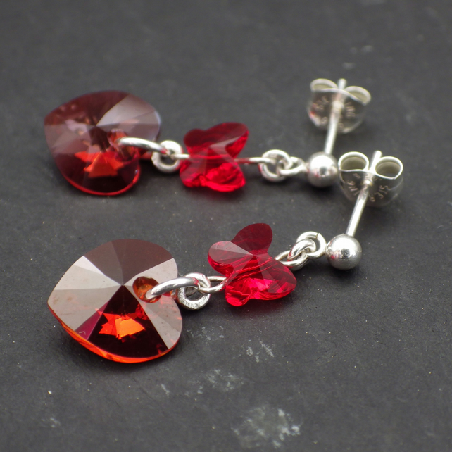 Red Magma Swarovski Heart Earrings With Erfly Beads