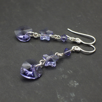 Tanzanite shade purple Swarovski bicone, heart and star bead earrings