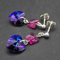 Swarovski purple heart earrings with pink butterfly beads