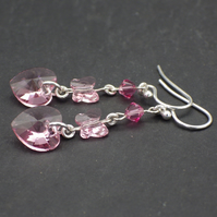Pink Swarovski heart drop earrings with butterflies