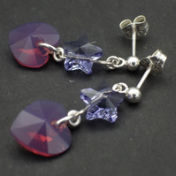 Pale purple Swarovski heart bead earrings with blue Swarovski stars