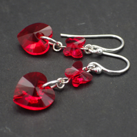 Red Swarovski heart earrings with butterfly beads