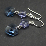 Denim blue Swarovski heart earrings with tanzanite Swarovski stars